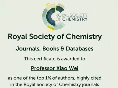 Wei Xiao Was Awarded as RSC Highly Cited Author for Two Years in Row